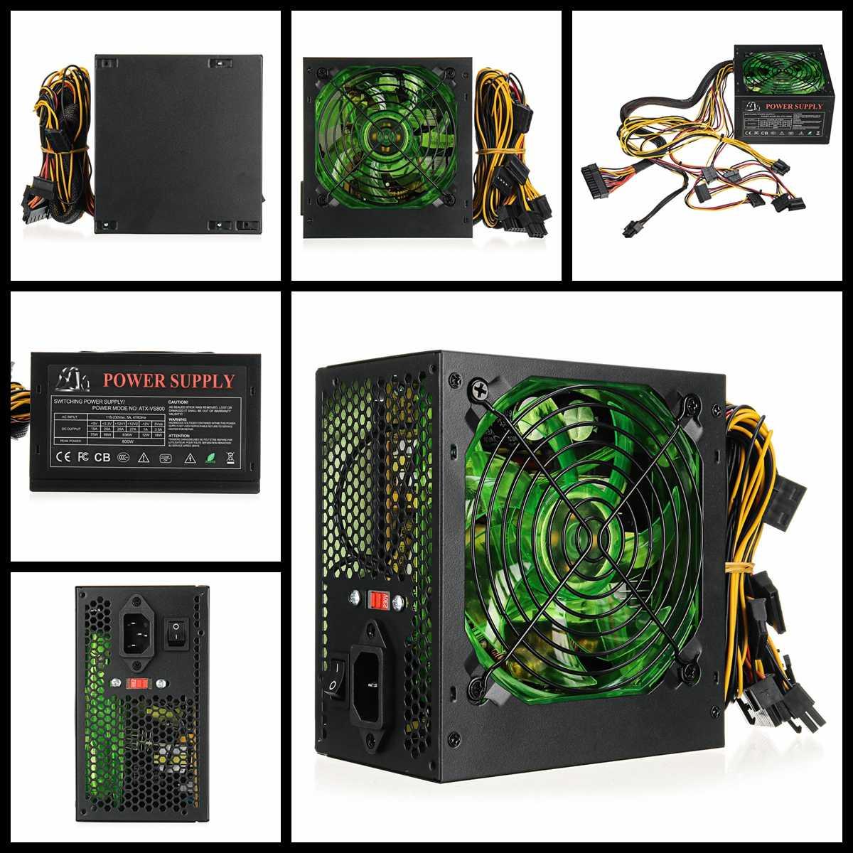 110 ~ 220V 800W PC alimentation 12cm LED ventilateur silencieux avec contrôle de température Intelligent Intel AMD ATX 12V pour ordinateur de bureau - 2