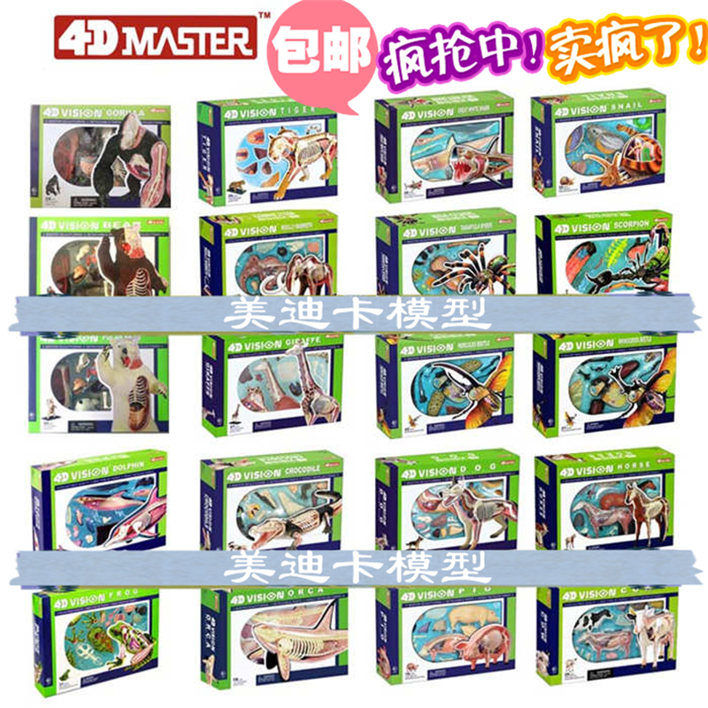 4d master puzzle Assembling toy Animal Dog cat Chicken Horse Shark Whale Biology organ anatomical model