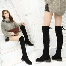 0d102f8f018 2019 Winter Women Over The Knee Boots Women Lace Up short plush Shoes woman  Square High