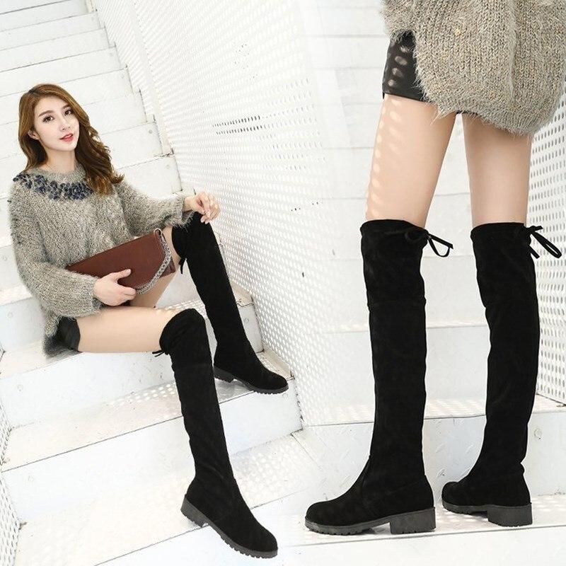Las La Botas Felpa Tacón Larga Corta No Plush Gamuza Moda Encima Mujeres Invierno 2019 Alto Cuadrada Zapatos Mujer suede Encaje Rodilla De Por pxY5Anwq