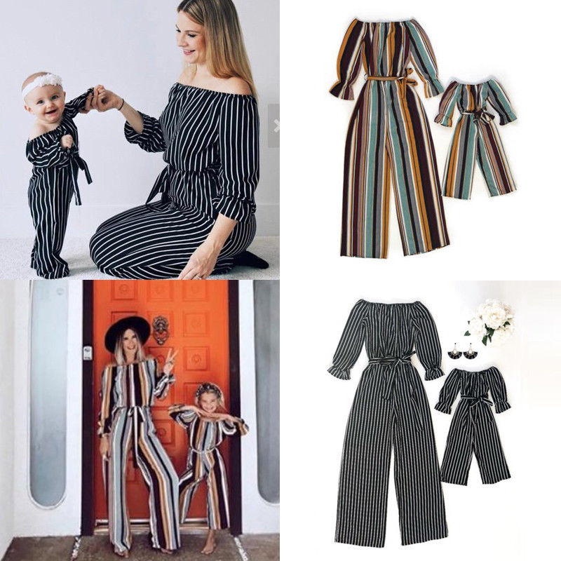 Pudcoco Family Matching Clothes Mother Kid Girl Off Shoulder Romper Jumpsuit Outfit Set