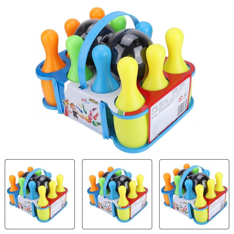 10 Pins & 2 Balls, Набор детских спортивных игрушек для боулинга, цветной шар для боулинга, Детские уличные игрушки для игр в помещении, спортивные ...