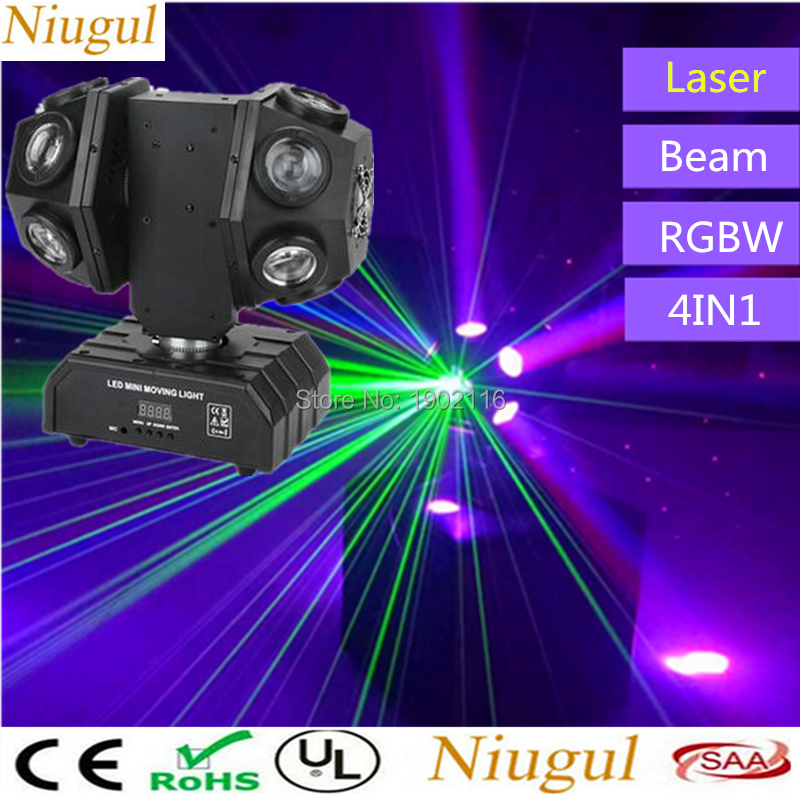 12X10W Double Head RGBW 4in1 LED Beam Light With RG Laser DMX512 Two Wheels Football Stage