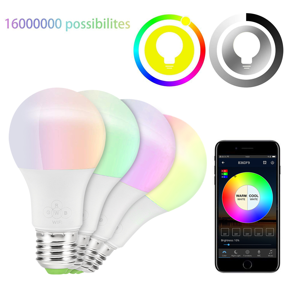 High Power Led Light Bulb Smart Wifi E27 4 5w 6 5w Rgb Lampada Lambs