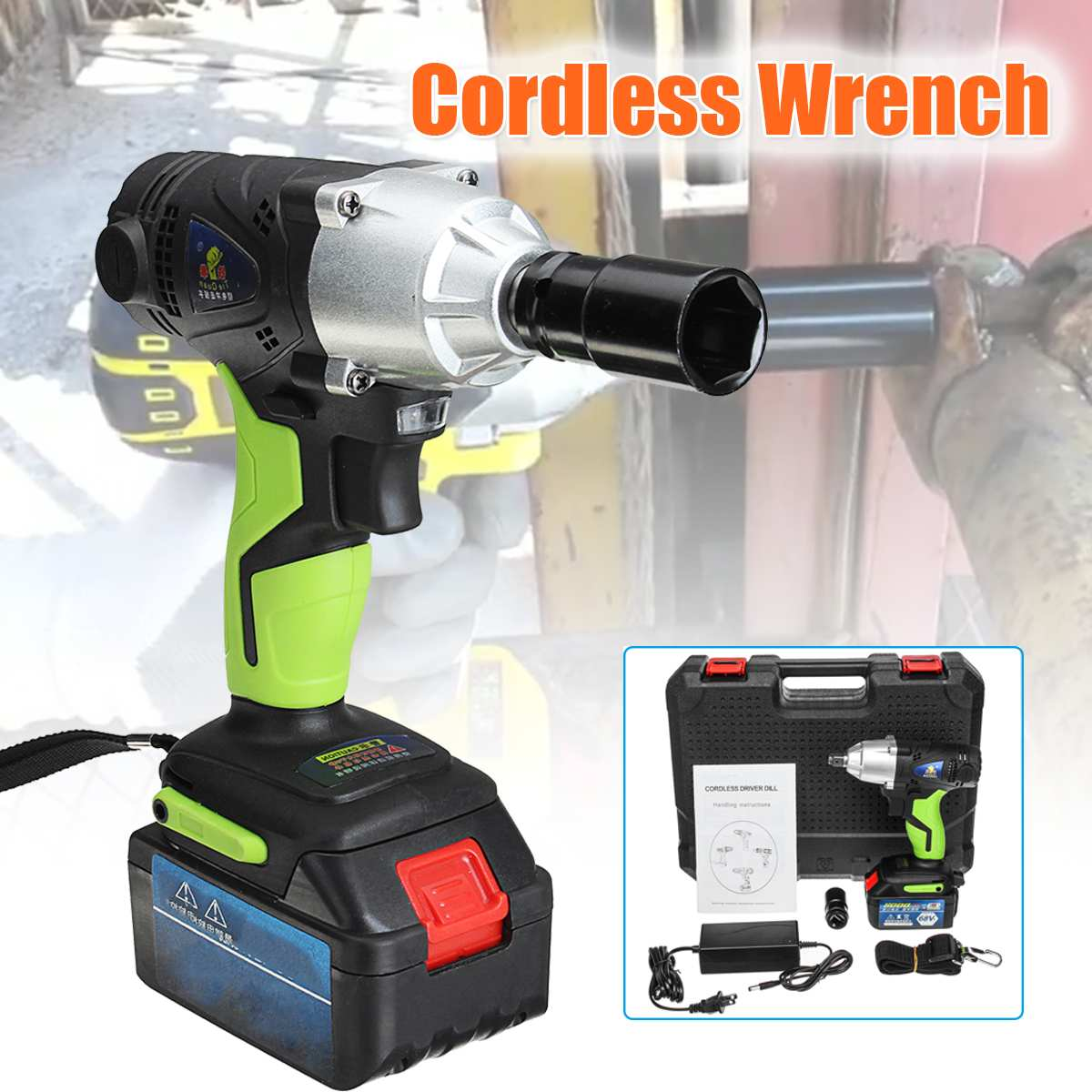 68V 8000mAh Cordless Electric Wrench 420Nm 1/2 Chuck with 1 Batteries 1 Charger Rechargeable Electric Wrench Power Tools68V 8000mAh Cordless Electric Wrench 420Nm 1/2 Chuck with 1 Batteries 1 Charger Rechargeable Electric Wrench Power Tools
