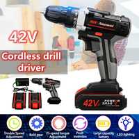 Electric Screwdriver Cordless Drill Impact Drill Power Driver 42 Volt Max DC Lithium Ion Battery 2 Speed 25+1 Drill Bit