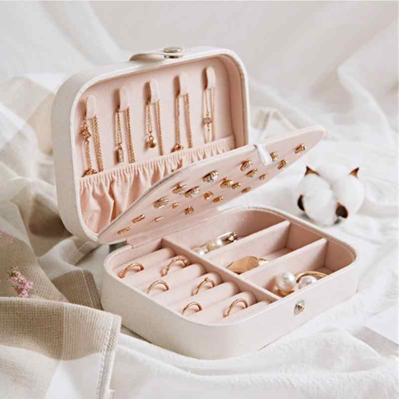 جديد 2 طبقات مجوهرات صندوق فتاة أقراط لوحة صندوق مجوهرات بروتابلي أقراط جلدية حلقة متعددة الوظائف مجوهرات صندوق تخزين