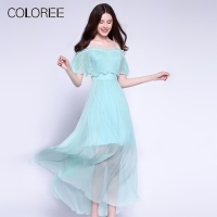 High end Luxury 100% Natural Silk Dress 2019 Summer Womens Slash Neck Boho Style Maxi Long Dress Vacation Beach Ruffles Vestidos