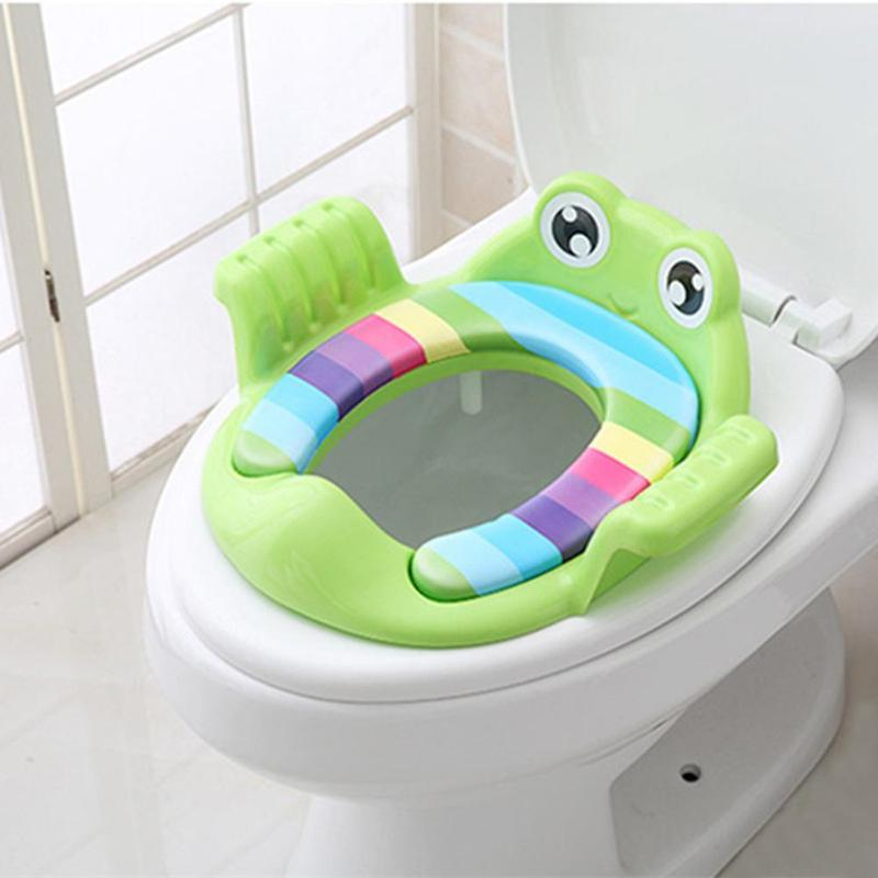 Baby Toilet Potty Seat Cartoon Frog Child Potty Safe Seat With Armrest For Girl Boy Toilet Training Seat Infant Toddler Potties