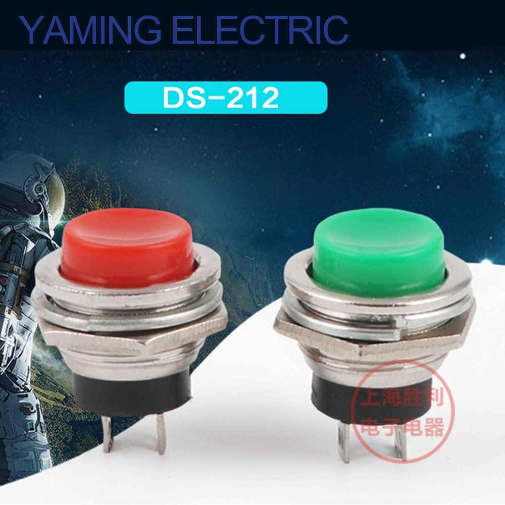 Yaming eléctrico AC 125V 3A SPST 1 NO Normal abierto Mini botón momentáneo interruptor rojo DS-212 16mm 2 unids/lote