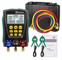 DY517A Pressure Gauge Refrigeration Digital Vacuum Pressure Manifold Tester Meter HVAC Temperature Tester Valve Tool Kit