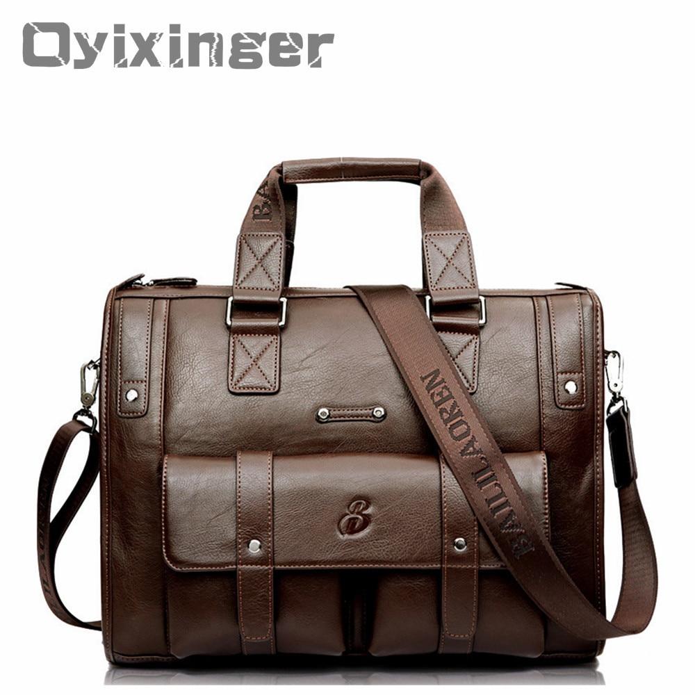 Large Capacity Men Leather Brown Briefcase Business Handbag Bags Male Vintage Shoulder Bag Men's Laptop Super Travel Bags Maleta