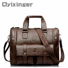 Large Capacity Men Leather Brown Briefcase Business Handbag Bags Male Vintage Shoulder Bag Men's Laptop Super Travel Bags Maleta стоимость