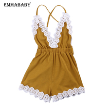 2019 HOt Sale 2-12Y Girls Yellow Jumpsuit Romper Outfit Summer Kids Flower Lace Costume Children Overalls Clothes