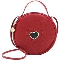Модные милые круглые в форме сердца узор Женская сумка через плечо на молнии Сумка Сумочка