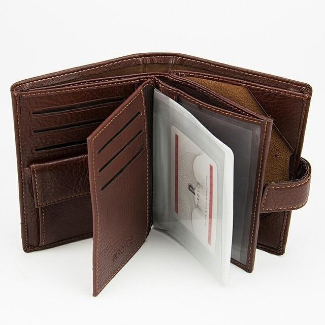 Vintage de piel de vaca de los hombres, Cartera de cuero embrague de cuero genuino cartera hombre monedero de pasaporte cubierta de negocios documento caso titular de la tarjeta
