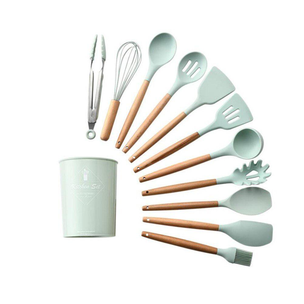 Silicone Kitchenware-Set Wooden-Handle Light With 11pcs/Set Green-Color