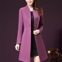 Korean Style Wind Coats Elegant Fashion Office Coats Winter Women OL Ladies Clothing 4xl