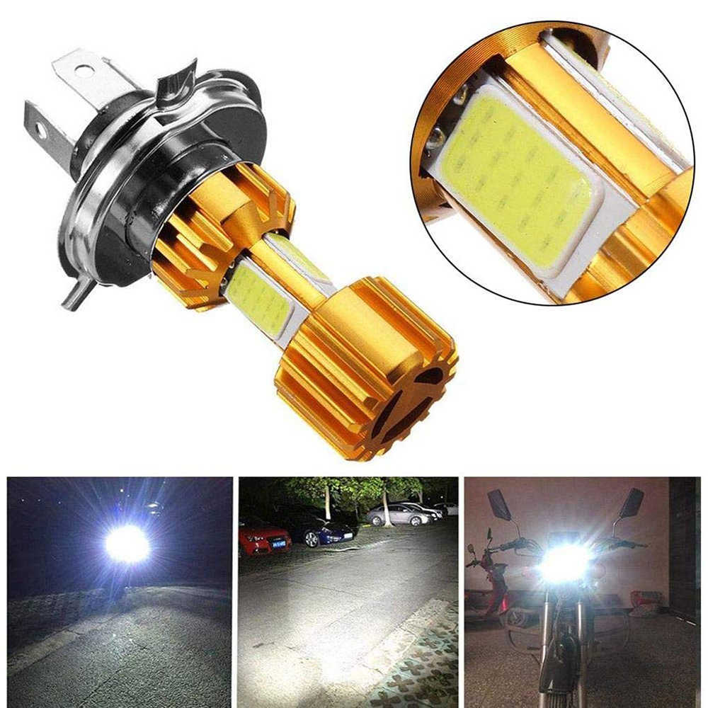 1Pc Motorbike H4 18W LED 3 COB Motorcycle Headlight Bulb 2000LM 6000K Hi/Lo Beam Light