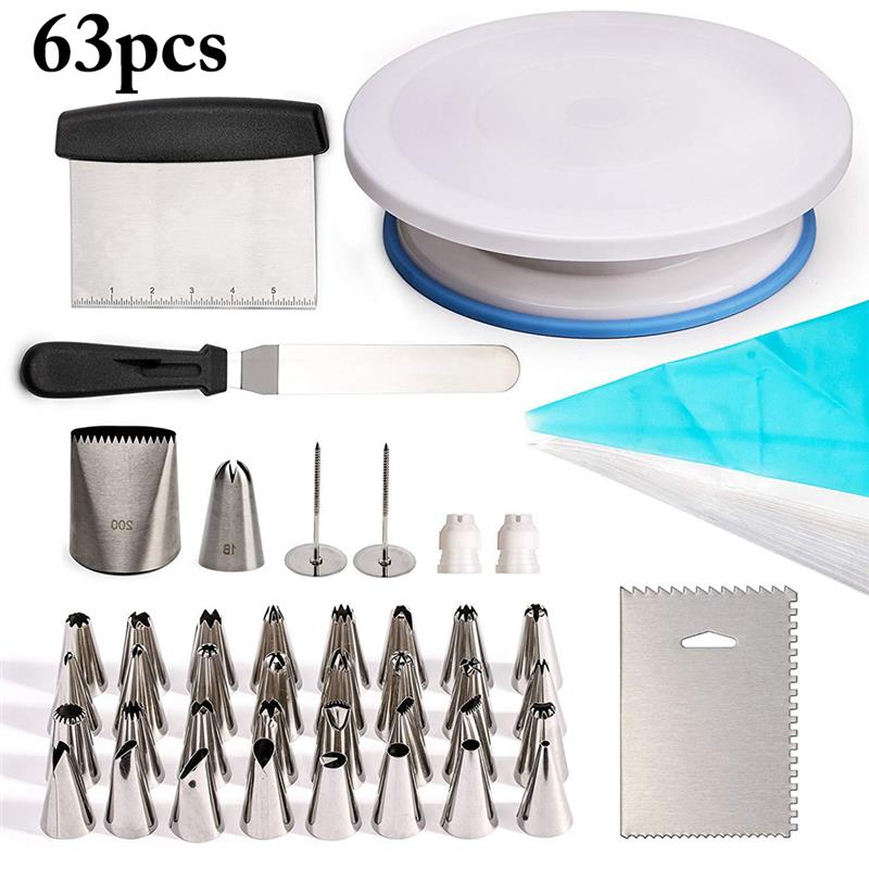 63PCS Rotating Cake Stand Decorating Tools Set Cake Turntable Cake Spatula Piping Mouth Piping Nozzles Base DIY Cake Tool