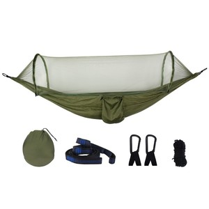 Image 2 - Ultralight Netting Hammock Automatic Unfolding Hunting Mosquito Protection Double Lifting Outdoor Furniture Hammock 250X120CM