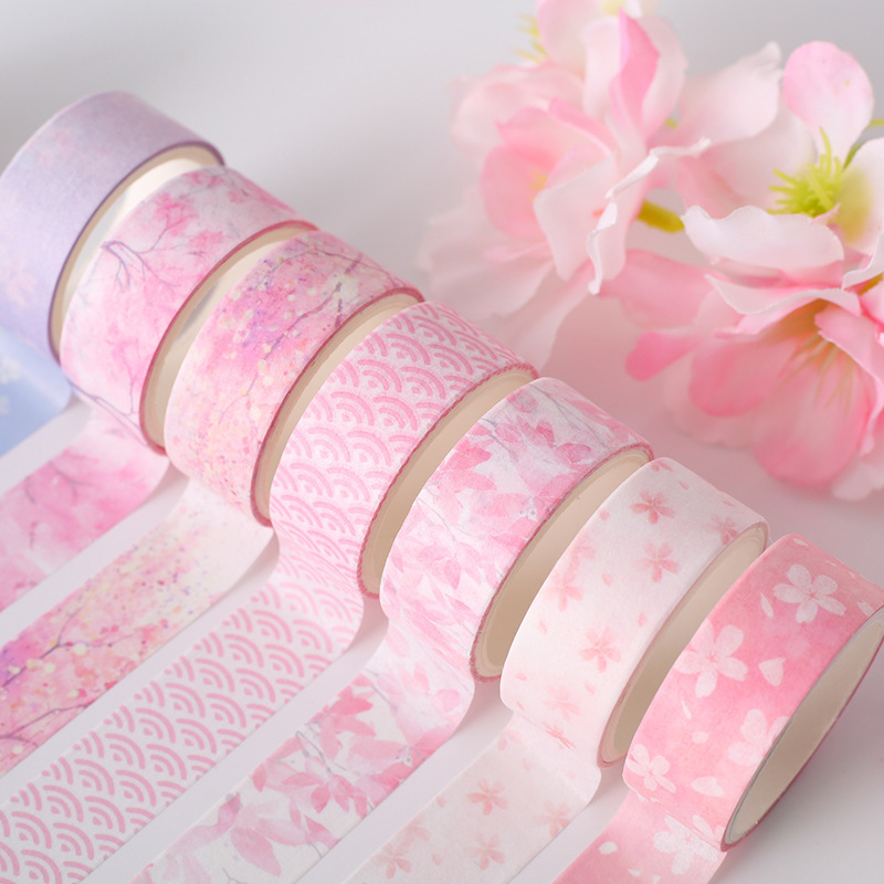 6/12 Roll Cherry Blossoms Diary Decoration Sided Color Washi Tape Set Stickers Scrapbooking Cute Stationery Supplies