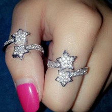 Women'S Fashion Adjustable Pretty Shining Diamond Crystal Open Two Stars Rings Silver Color Lady Hot Charms Star Rings(China)
