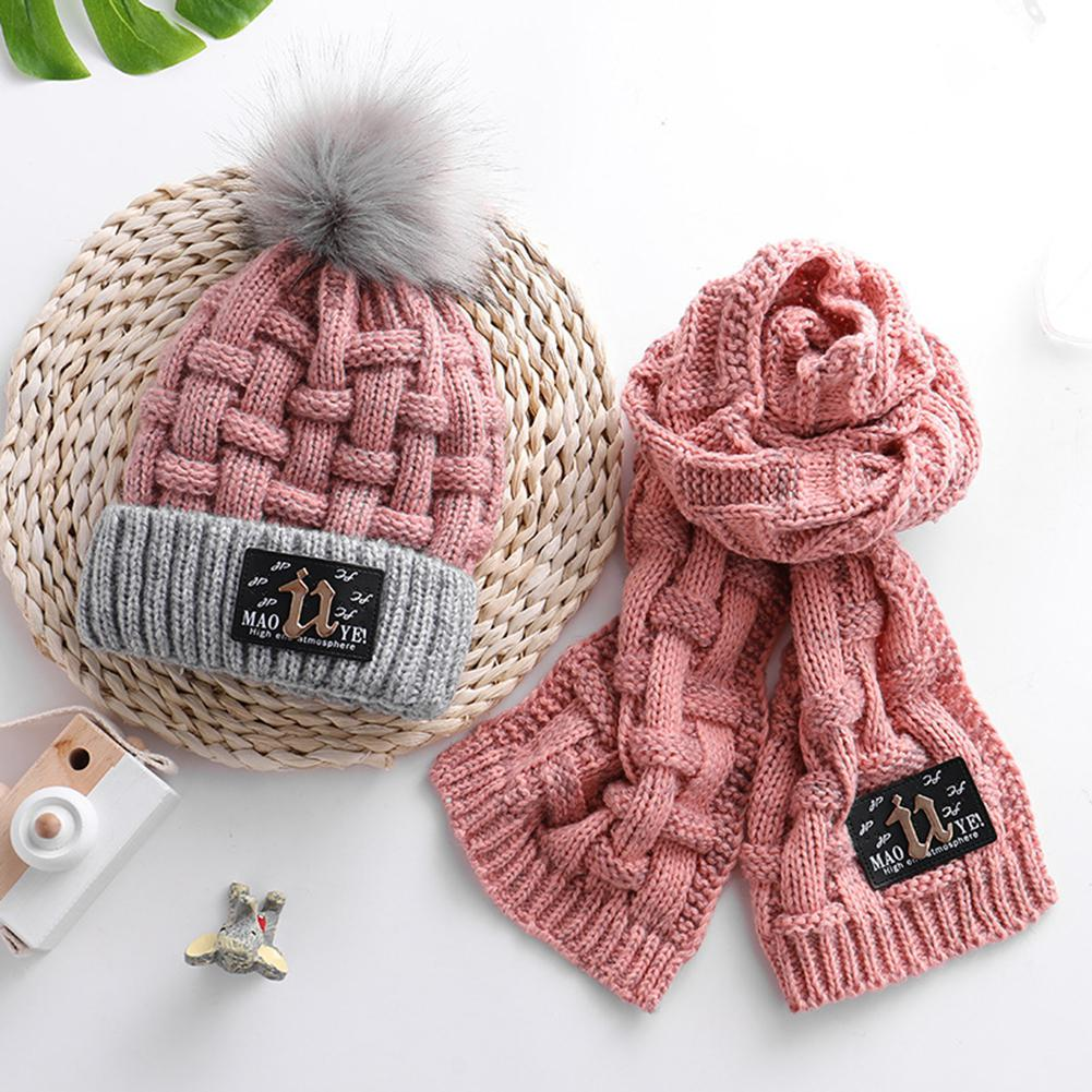 MISSKY Thicken Pompom Bobble Hat Scarf Set Warm Knitting Set For Kids Winter Fall Wear