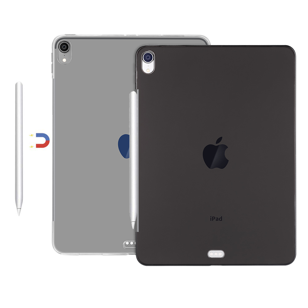 ce5bb278ca2 Redlai Ultra-delgada suave TPU funda de silicona transparente cubierta de cuero  para iPad Pro 11 y 12,9 caso 2018 soporte Apple lápiz de carga ...