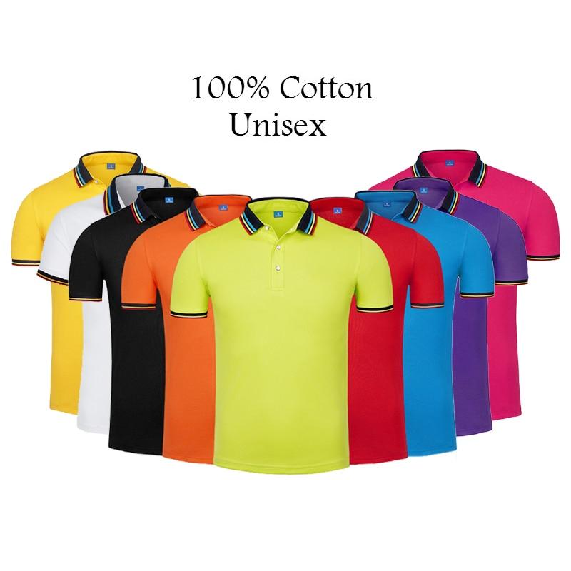 2019 Summer Unisex Pure Cotton Men Business Casual Solid Color Mens Short Sleeve Lapel   Polo   Shirts High Quality Plus Size S-4XL