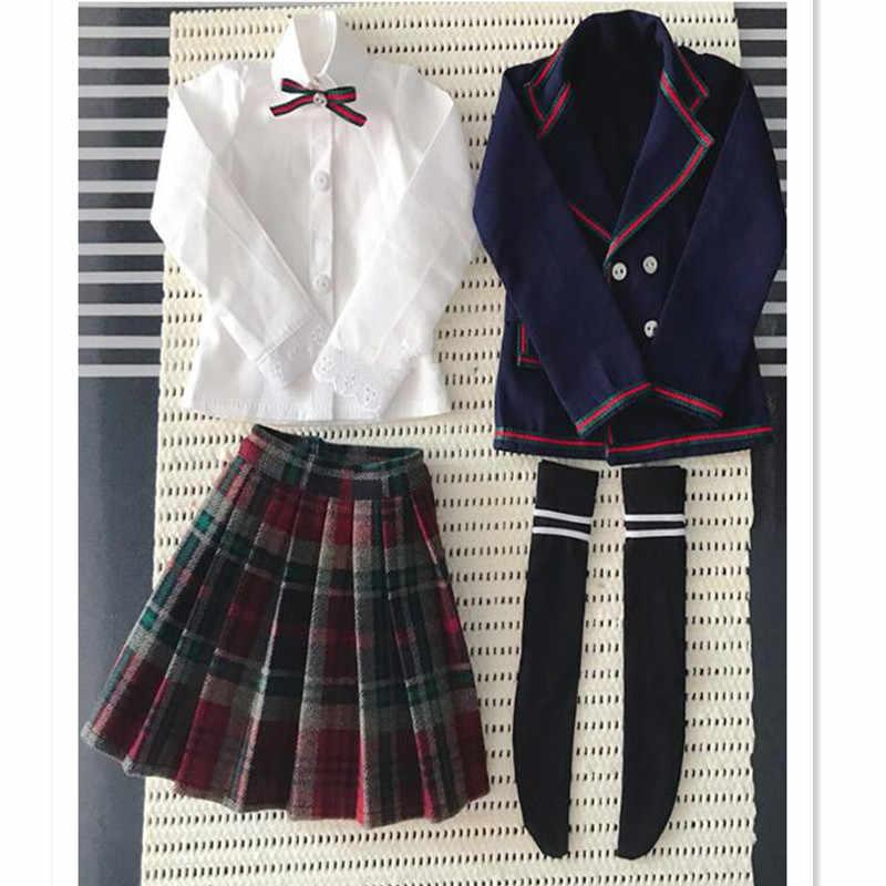 BJD Кукла одежда школьная форма для кукол аксессуары, синий костюм куртка комплект Кукла Одежда для 1/3 1/4 BJD DD MSD кукла