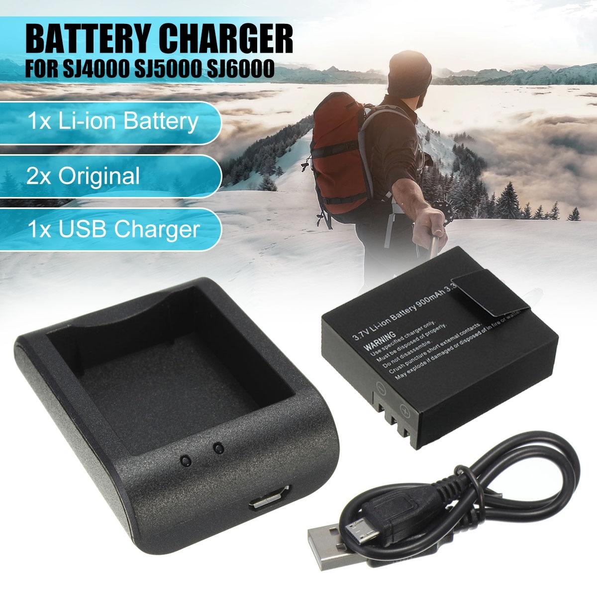 2x3,7 V 900 mAh Li-Ion batería + Cable USB cargador de escritorio de carga para SJ4000 SJ5000 SJ6000 de deportes de acción cámara DVR