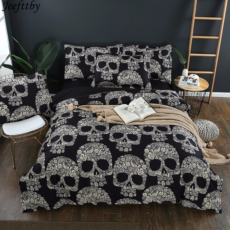 Home Textiles Black Color Duvet Cover Queen Size Luxury Sugar Skull Bedding Set 2/3pc King Size 3D Skull Bedclothes And Bed Sets