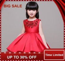 3-14T Red Satin Flower Girl Dress Sequin Princess Tutu Party Wedding Dresses for Girls Christmas Style Sweet Kids