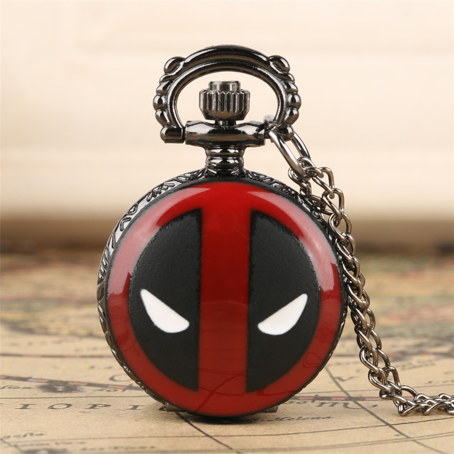 Exquisite Little Size Quartz Pocket Watch For Kids Deadpool Iron Man Batman Theme Pendant Necklace Clock Cute Clock For Boy Girl