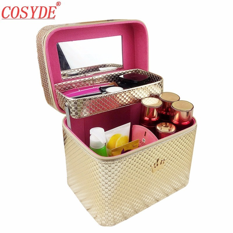 Crown Designer Suitcase Makeup Professional Travel Organizer Beauty Cosmetic Case Big Leather Make Up Bag With Mirror Female