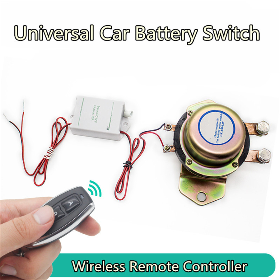 12V Car Battery Switch Car Battery Switch Wireless Control Disconnect Latching Relay Electromagnetic Solenoid Power Terminal