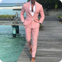 Beach Wedding Pink Linen Mens Wedding Suits Men's Classic Suits Slim Fit Groom Tuxedo 2Piece Man Blazer Jacket Casual Prom Wear