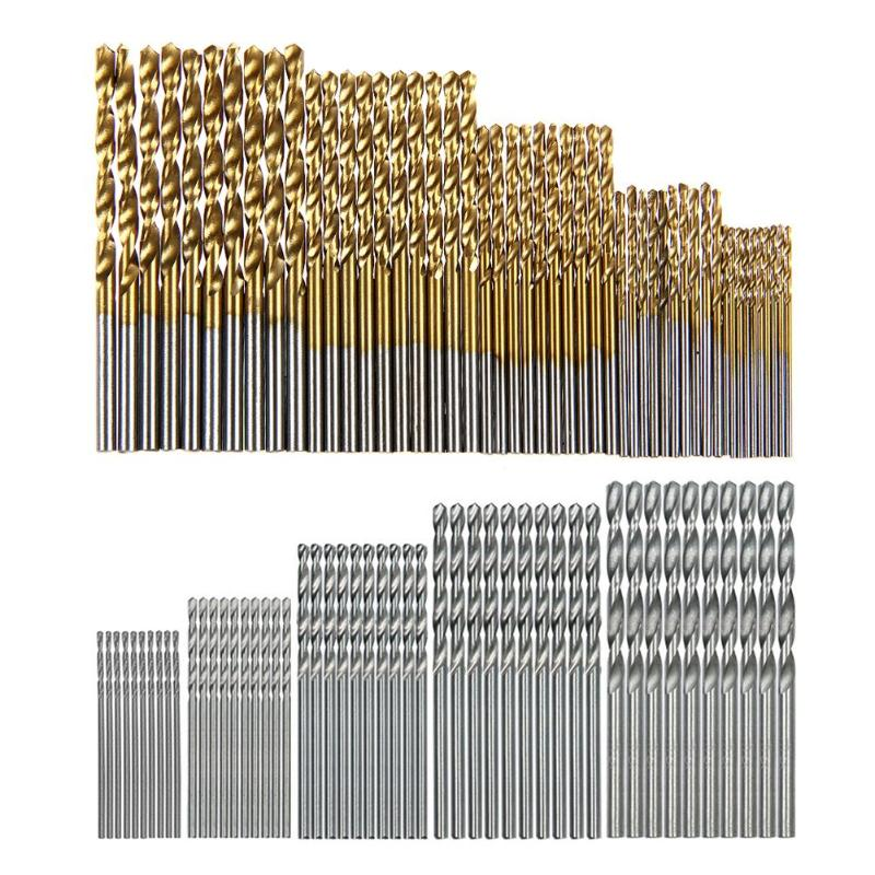 100Pcs Titanium Coated Drill Bits HSS High Speed Steel Drill Bits Set Tool For Many Electric Drills And Drill Machine