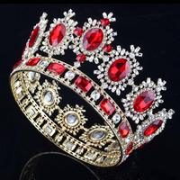 Large Red Crystal Gold King Queen Crown Big Wedding Prom Party Pageant Bridal Diadem Royal Tiaras Hair Accessories