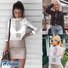 Summer Women T-shirts 2019 New Long Sleeve Turtleneck Hollow Out Lace Flowers Short