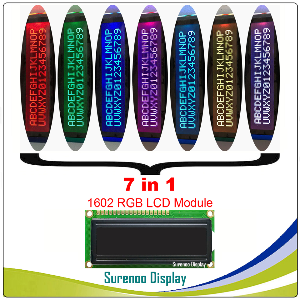 162 16X2 1602 5V/3.3V Character LCD Module Display Screen LCM FSTN Negative With 7 Colors RGB Backlight (RGB On Black)