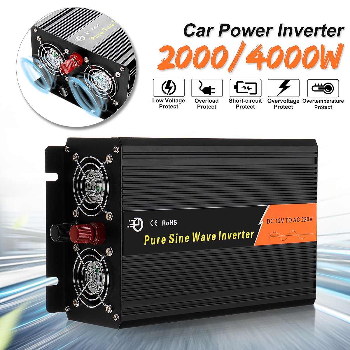 2000/4000 W voiture onde sinusoïdale Pure onduleur DC 12 V à AC 220 V chargeur convertisseur de tension transformateur 28x17x9 cm entièrement fonctionnel
