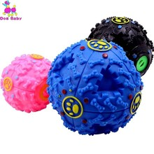 Dog Toys IQ Treat Ball Food Dispenser Teeth Cleaning Chewing Non-Toxic Durable Rubber Playing Chew Squeaky Toy Balls