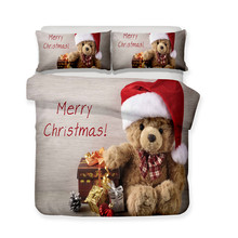 3D christmas Teddy Bear Print Duvet Cover Set