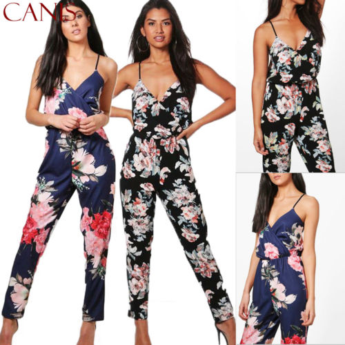 Women Boho Sleeveless Clubwear Playsuit Bodycon Party Trousers Floral Jumpsuit