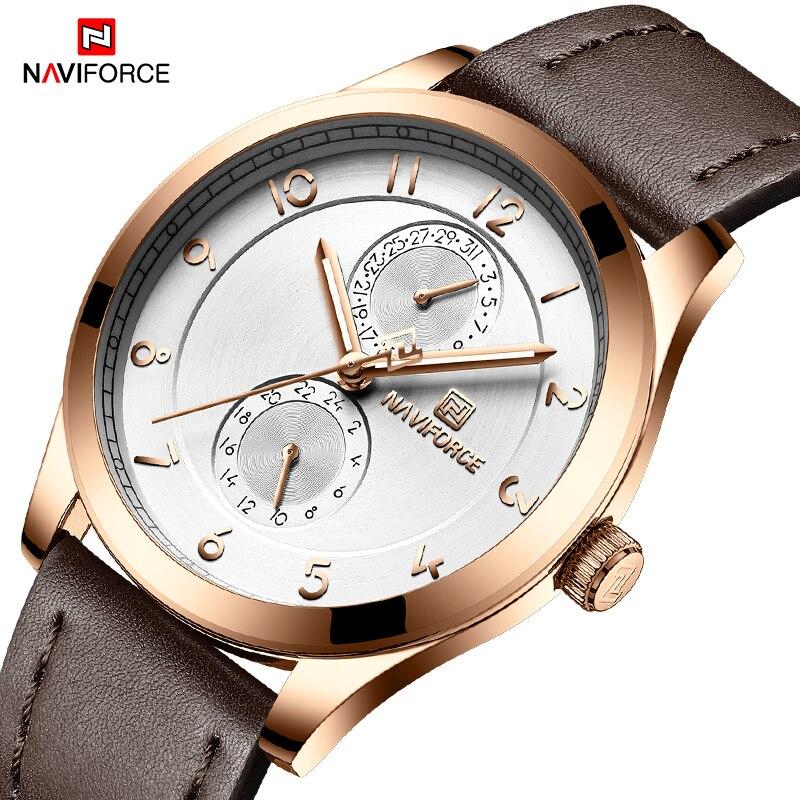 NAVIFORCE Top Brand Men Sports Watches Waterproof Leather Creative Fashion Quartz Slim Wrist Watch Man Clock Relogio Masculino