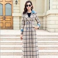 New Women Plaid Long Coat Woolen Overcoat Large Size Wool Outwear Female Autumn Winter Slim Trench Ladies Coats Cashmere Coat