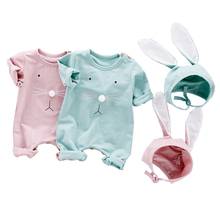 2pcs Easter Baby Toddler Boys And Girls Bunny Romper Long Sleeve Cotton Soft Rompers With Big Cute Rabbit Ear Cap Clothes Set autumn baby fashion cute warm rompers cute rabbit ears design baby bunny hooded romper newborn boys and girls one pieces suits