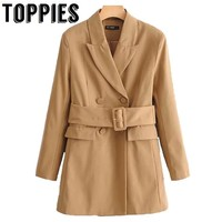 2019 Women Double Breasted Leisure Blazer Jacket Streetwear Long Blazer Ladies Khaki Suit Jacket Loose Coat Belt Waist